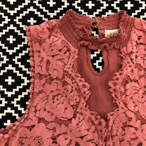 Burnt Rose-colored Lace Shirt